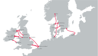 Stena Line route map (Rosslare – Cherbourg has been added & Dún Laoghaire – Holyhead route has been discontinued)