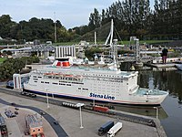 A miniature model of the Stena Line ferry on display at Madurodam miniature park, the Netherlands.