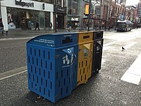 Container recycling, paper recycling and garbage bin in Vancouver