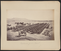 Roberts and his staff on horseback inspecting captured Afghan artillery in the Sherpur Cantonment, 1.5 kilometers north of Kabul. British artillery was usually superior to Afghan armament, but occasionally it was ineffective, as at the Battle of Maiwand in July 1880