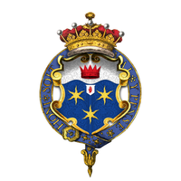 Garter encircled shield of arms of Frederick Sleigh Roberts, 1st Earl Roberts, as displayed on his Order of the Garter stall plate in St. George's Chapel.