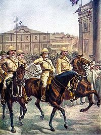 Lord Roberts enters the city of Kimberley after the relief of the besieged city during February 1900.