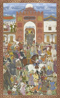 Celebrations at the accession of Jahangir in 1600, when Akbar was away from the capital on an expedition, Salim organised a coup and declared himself Emperor. Akbar had to hastily return to Agra and restore order.