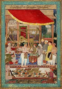 Emperor Jahangir weighing his son Prince Khurram (the future Shah Jahan) on a weighing scale by artist Manohar (1615).
