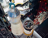 Erection and mating of spacecraft 103 to Launch Vehicle AS-503 in the VAB for the Apollo8 mission