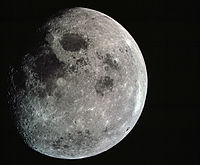 This photograph of the Moon was taken from Apollo8 at a point above 70 degrees east longitude.