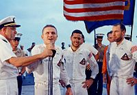 Crew of Apollo 8 addressing the crew of USS Yorktown after successful splashdown and recovery