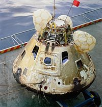 Command module on the deck of