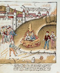 The knight von Hohenburg and his squire, being burned at the stake for sodomy, Zurich 1482 (Zurich Central Library)