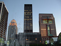 Left to right, BB&T Building, 400 West Market, National City Tower, and the Humana Building in downtown Louisville