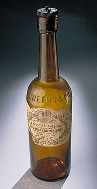 19th-century bourbon bottle. One-third of all bourbon comes from Louisville.