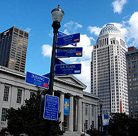 Distances to each of Louisville's sister cities on the downtown light post