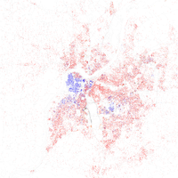 Map of racial distribution in Louisville, 2010 U.S. Census. Each dot is 25 people: White, Black, Asian , Hispanic or Other (yellow)