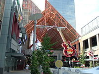 Entrance to Fourth Street Live!, featuring marquee of the Hard Rock Cafe