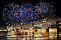 2018 Kentucky Derby Festival Thunder Over Louisville fireworks display, seen from the Indiana side of the Ohio River