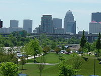 Louisville Waterfront Park exhibits rolling hills, spacious lawns and walking paths in the downtown area.