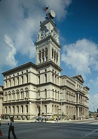 Louisville City Hall in downtown, built 1870–1873, is a blend of Italianate styles characteristic of Neo-Renaissance.