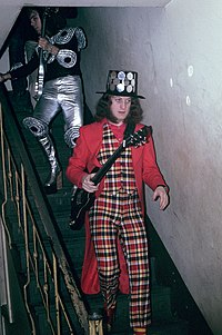 Noddy Holder (right) and Dave Hill (left) of Slade, near the height of their fame in 1973, showing some of the more extreme glam rock fashions