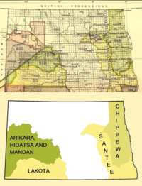 Early Indian treaty territories in North Dakota map and overview