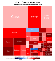 Treemap of the popular vote by county, 2016 presidential election.