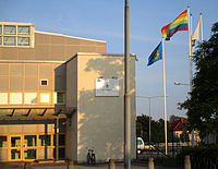 The Visby police house displaying the LGBT pride flag during the Stockholm pride week, 2014.