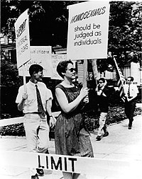 Gay equality activist Barbara Gittings picketing Independence Hall in 1965
