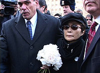 Ono delivering flowers to Lennon's memorial Strawberry Fields in Central Park on the 25th anniversary of his death, December 8, 2005.