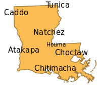 The languages of historic Native American tribes who inhabited what is now Louisiana include: Tunica, Caddo, Natchez, Choctaw, Atakapa, Chitimacha and Houma.