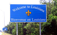 Louisiana's bilingual state welcome sign, recognizing its French heritage