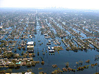View of flooded New Orleans in the aftermath of Hurricane Katrina