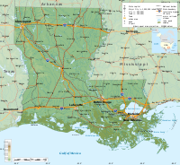 Geographic map of Louisiana