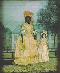 Free woman of color with mixed-race daughter; late 18th-century collage painting, New Orleans
