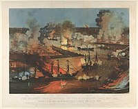 Capture of New Orleans, April 1862, colored lithograph of engraving