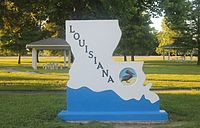 Louisiana entrance sign off Interstate 20 in Madison Parish east of Tallulah
