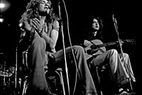 Plant and Page performing an acoustic set at Musikhalle Hamburg, in 1973