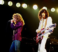 Plant (left) with Led Zeppelin guitarist Jimmy Page in concert in Chicago, Illinois, 1977.