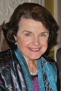 Feinstein in 2010, as she hosted an event at her home attended by 5 members of the U.S. Senate