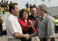 Feinstein with then President George W. Bush and then California Governor Arnold Schwarzenegger, October 25, 2007