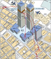 Diagram showing the attacks on the World Trade Center
