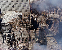 The remains of 6, 7, and 1 WTC on September 17, 2001