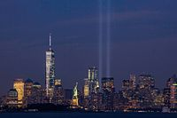 The Tribute in Light on September 11, 2014, the thirteenth anniversary of the attacks, seen from Bayonne, New Jersey. The tallest building in the picture is the new One World Trade Center.