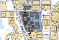 Map showing the attacks on the World Trade Center (The planes are not drawn to scale.)
