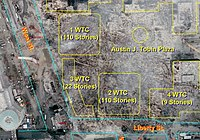 World Trade Center site (Ground Zero) with an overlay showing the original building locations