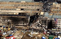 The Pentagon was damaged by fire and partly collapsed.