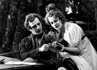 Garbo in her first leading role in the Swedish film The Saga of Gösta Berling (1924) with Lars Hanson