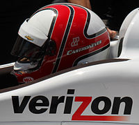 Castroneves sitting in his car on the final day of practice for the 2015 Indianapolis 500