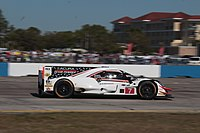 The Acura ARX-05 car of Castroneves, Graham Rahal and Ricky Taylor in the 2018 12 Hours of Sebring.