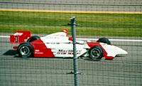 Castroneves en route to winning the 2002 Indianapolis 500, his second of three victories at the race.