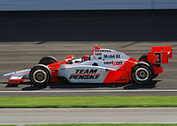 Castroneves driving in the 2009 Indianapolis 500, his third victory at the race.