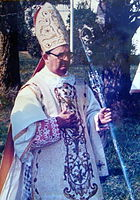 Catholic bishop dressed for the Sacrifice of the Mass. No Pontifical gloves.